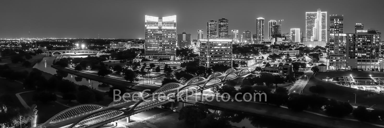 Fort Worth Skyline BW Pano 2 -