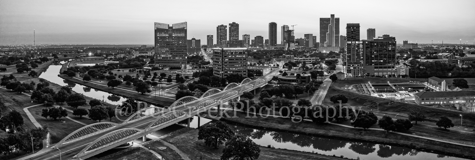 Fort Worth Skyline Dawn BW Pano 2 - We capture this aerial black and white panorama image at night of the Fort Worth skyline...
