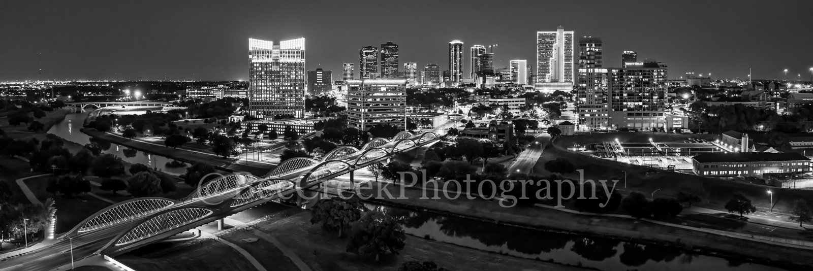 Fort Worth Skyline Night BW Pano 2 - We capture this aerial black and white panorama image at night of the Fort Worth skyline...