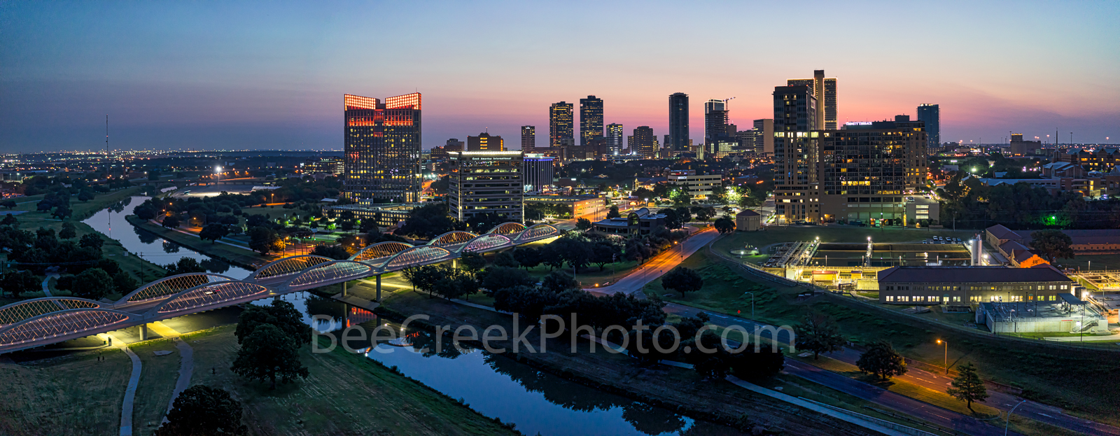 Fort Worth Skyline,Fort Worth Skyline Sunrise , skylines, cityscape, cityscapes, downtown, sunrise, panorama, pano, pink, seventh street bridge, 7th street bridge, Trinity river, Texas, city, purple l, photo