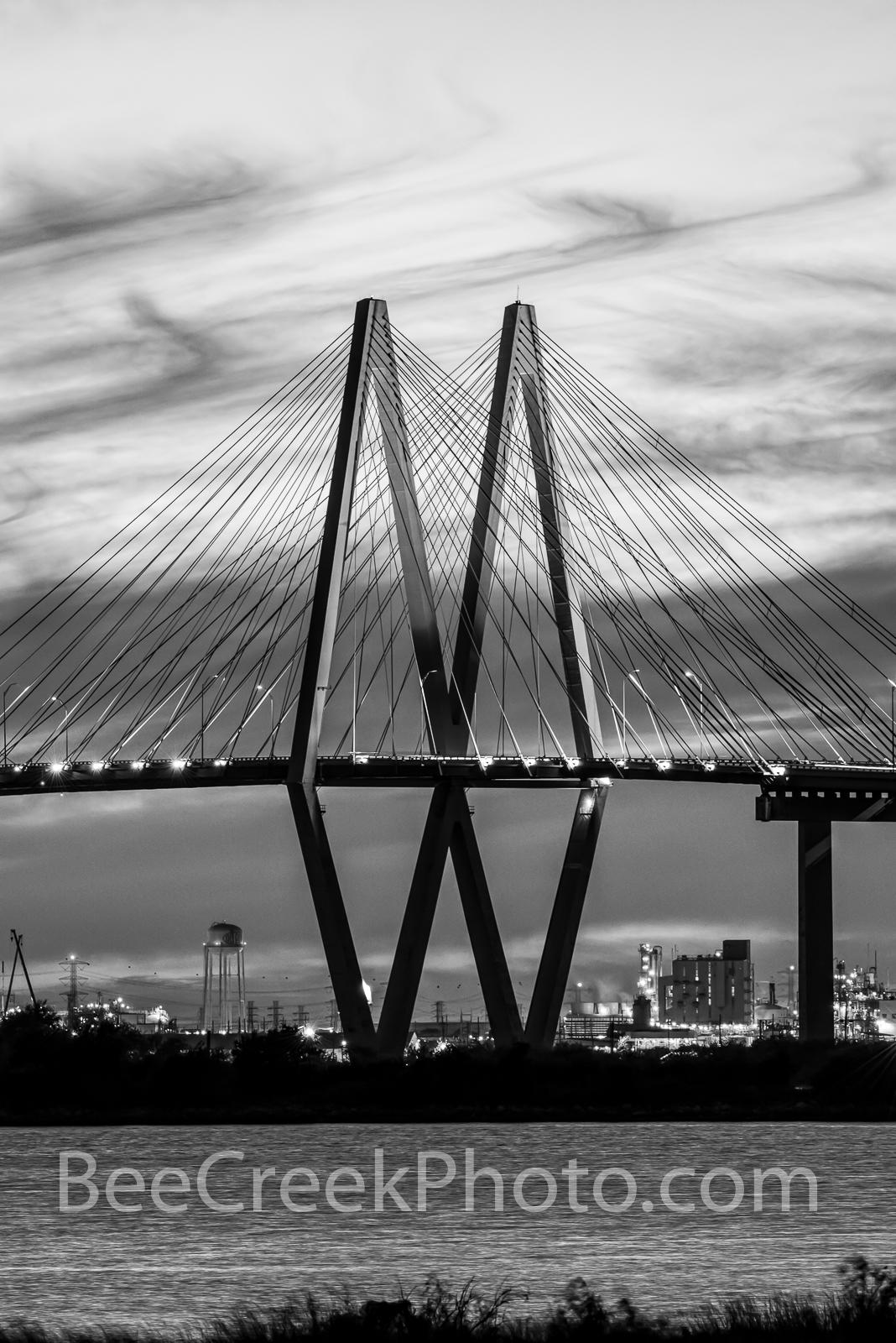 Fred Hartman Bridge  B W, vertical, architecture, bridge, black and white, La Porte, Baytown, cable stay bridge, Texas, Port of Houston,  refineriers, industrial,  ship channel, texas coast, , photo