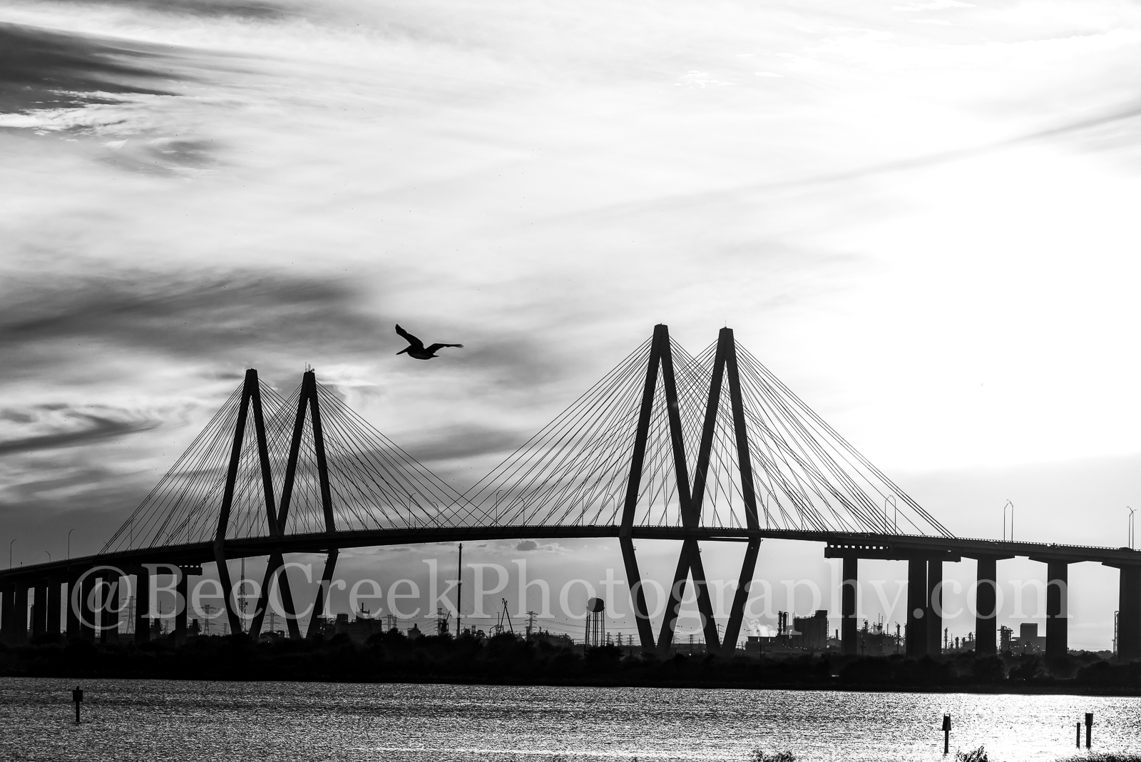 Baytown, Harris County, Houston, La Porte, black and white, bw, cable stay bridge, city, cityscape, cityscapes, landscape, landscapes, ship channel, sky, sunset, texas, photo