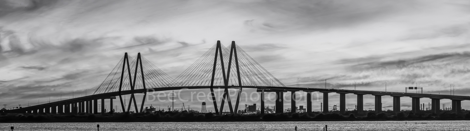 Houston, Baytown, La Porte, Texas, Fred Hartman Bridge,BW, black and white, cityscape, cityscapes, ship channel,landscape, landscape, architectural, architecture, bridge, pano, panorama,, photo