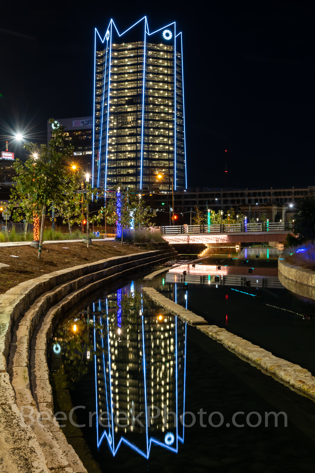 San Antonio, Frost Tower, San Pedro Creek, reflections, water, boardwalk,vertical, Christmas, holiday, lights, color lights in the water,, photo