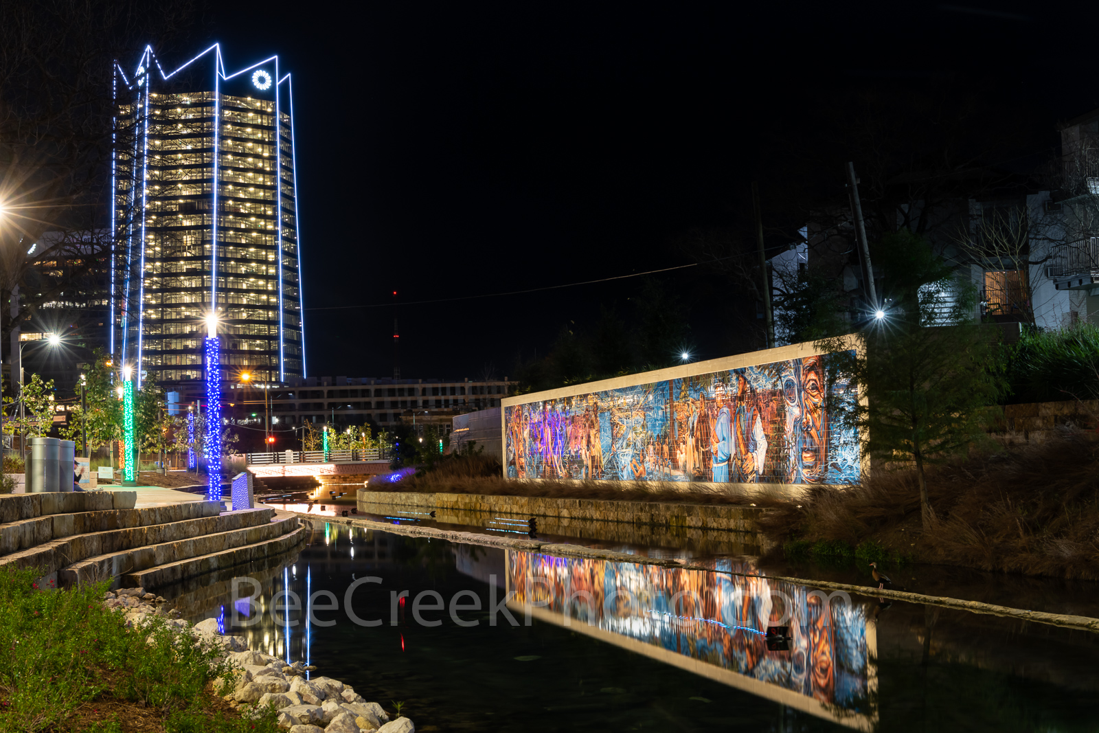 Frost Tower, San Pedro Creek, reflections, water,  San Antonio, creek, wall art, mural, mural, colorful, history, christmas lights, downtown, Texas, boardwalk, , photo