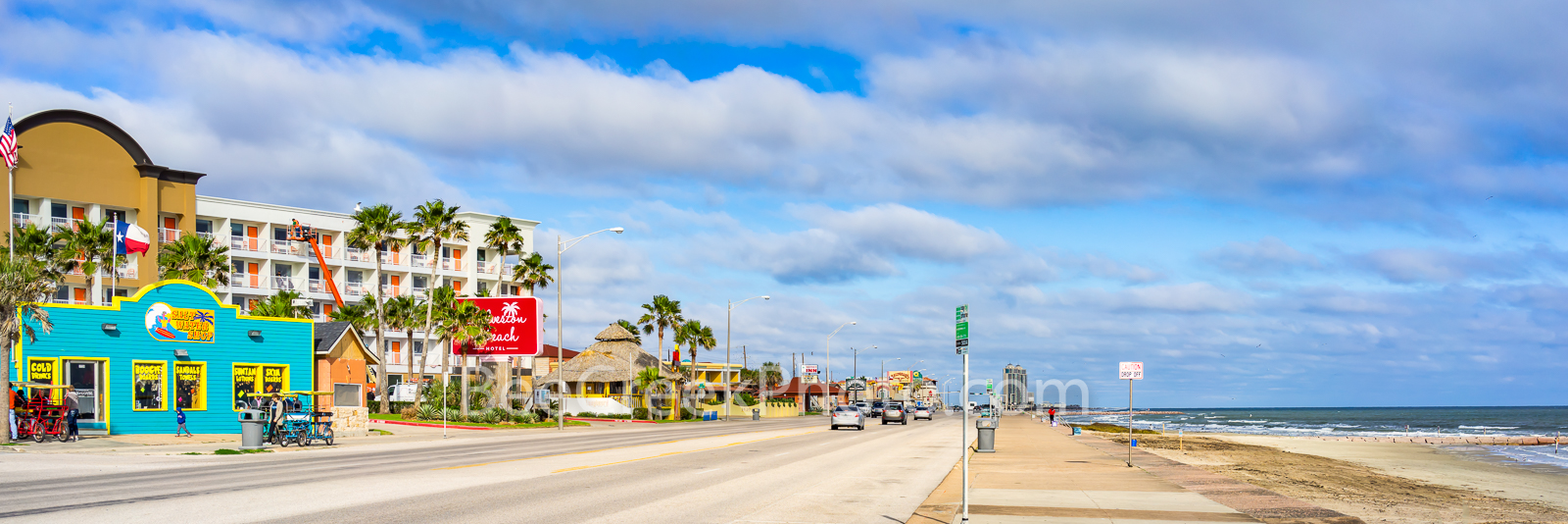 Galveston Seawall Pano - Galveston Island is known for it sea wall that run down a long section of the beach which we captured...