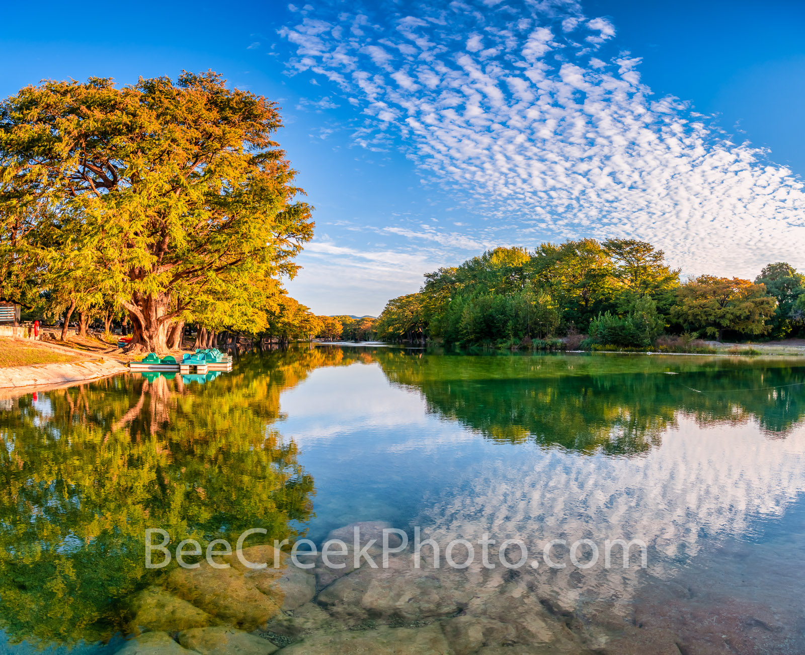 Frio river, fall autumn, dam, stunning, morning, Garner State Park, clouds, emerald green water, bald cypress, paddle boats, state park, pano, panorama,, photo
