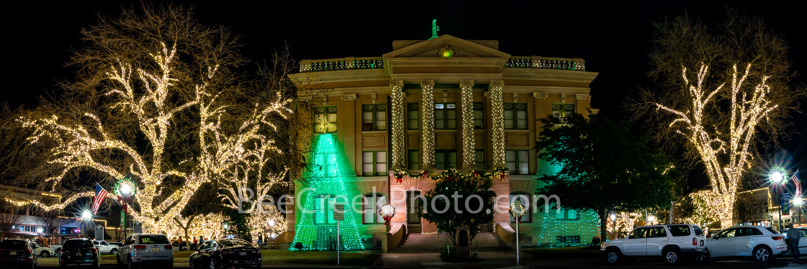 georgetown texas christmas, georgetown, texas, christmas, downtown, city, , christmas lights, holiday decorations, square, town square,  night, texas christmas, panorama, pano, , photo
