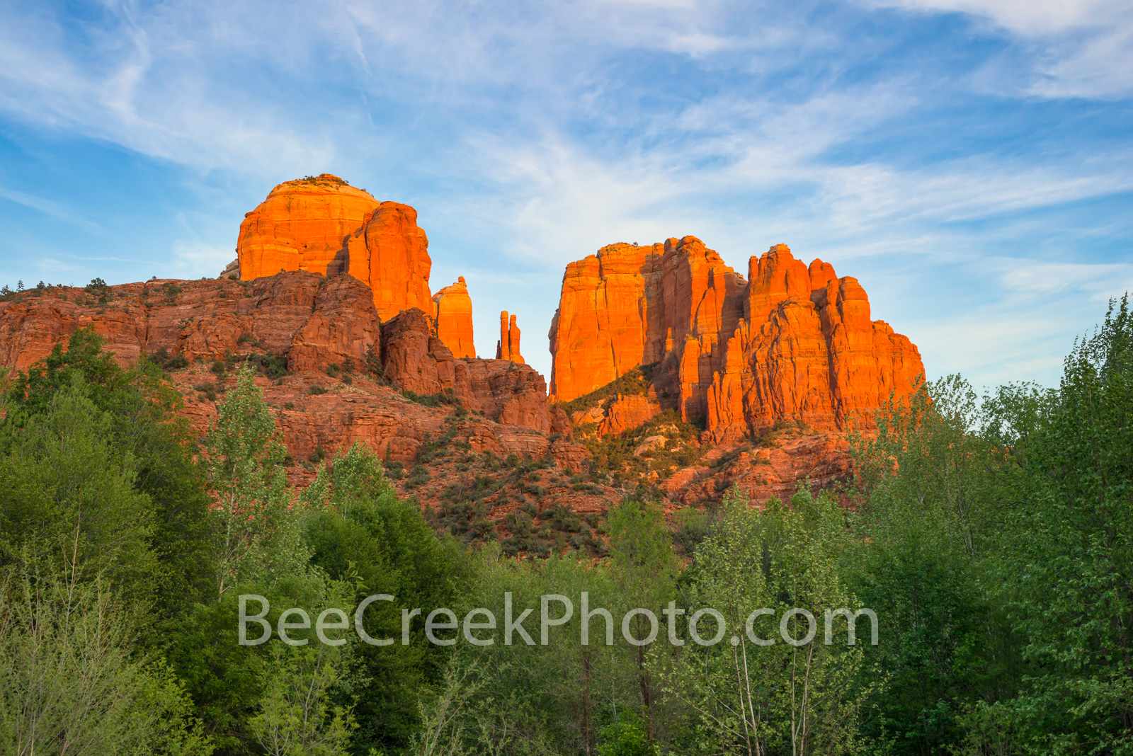 Glow at Cathedral Rock  - The red rocks of Sedona Arizona, are a beautiful site as the sunset was just beinging to set creating...