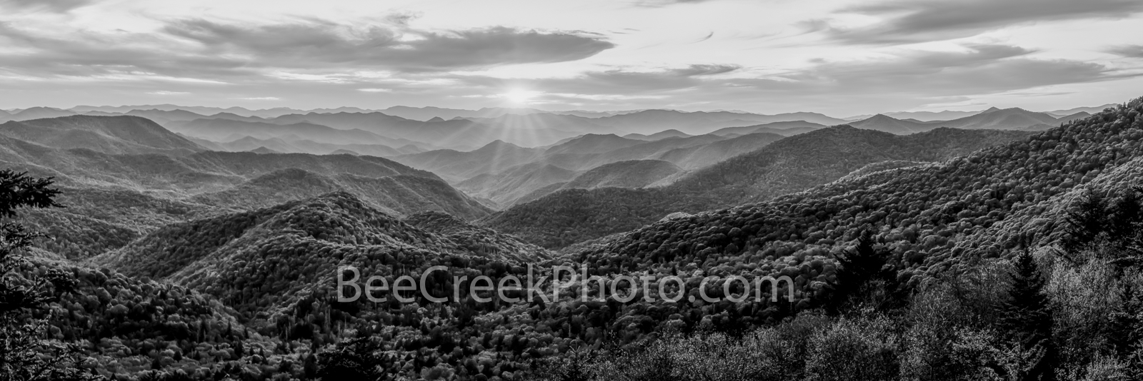Great Smoky Mountains Sunset Pano BW - Great Smoky Mountains Sunset Landscape Cherokee North Carolina in black and white. After...