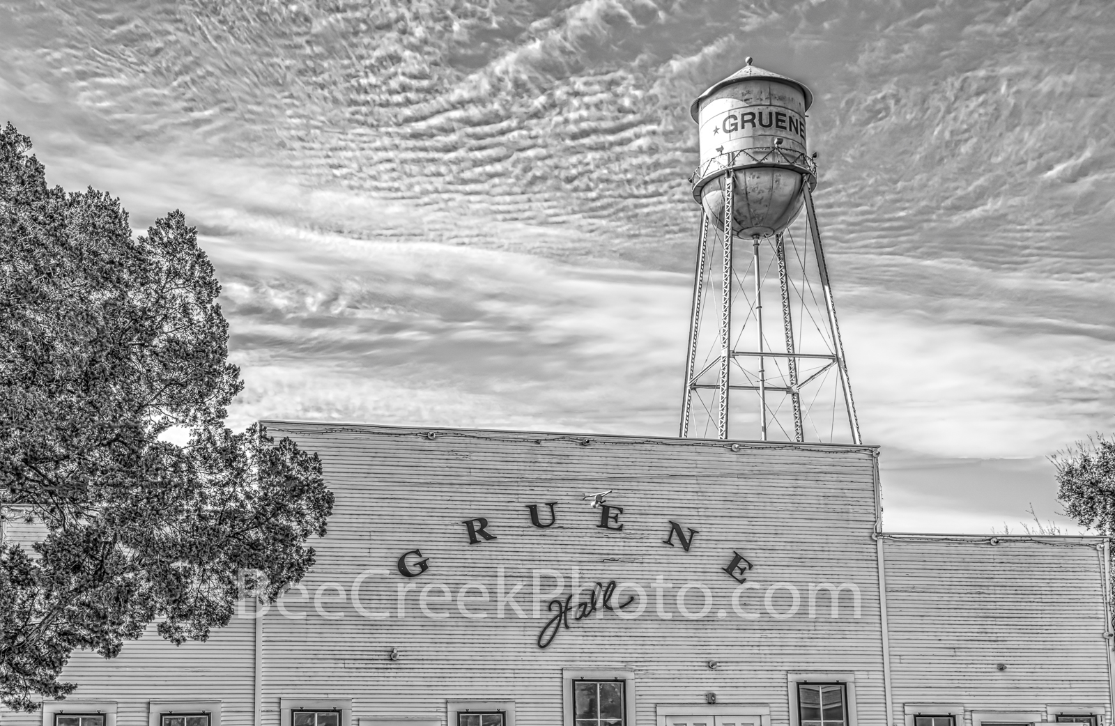 Gruene Hall, B W, black and white, Gruene Texas, dance hall, saloon, town, community, Earnest Gruene, german, german town, tourist destination, travel, watertower, , photo