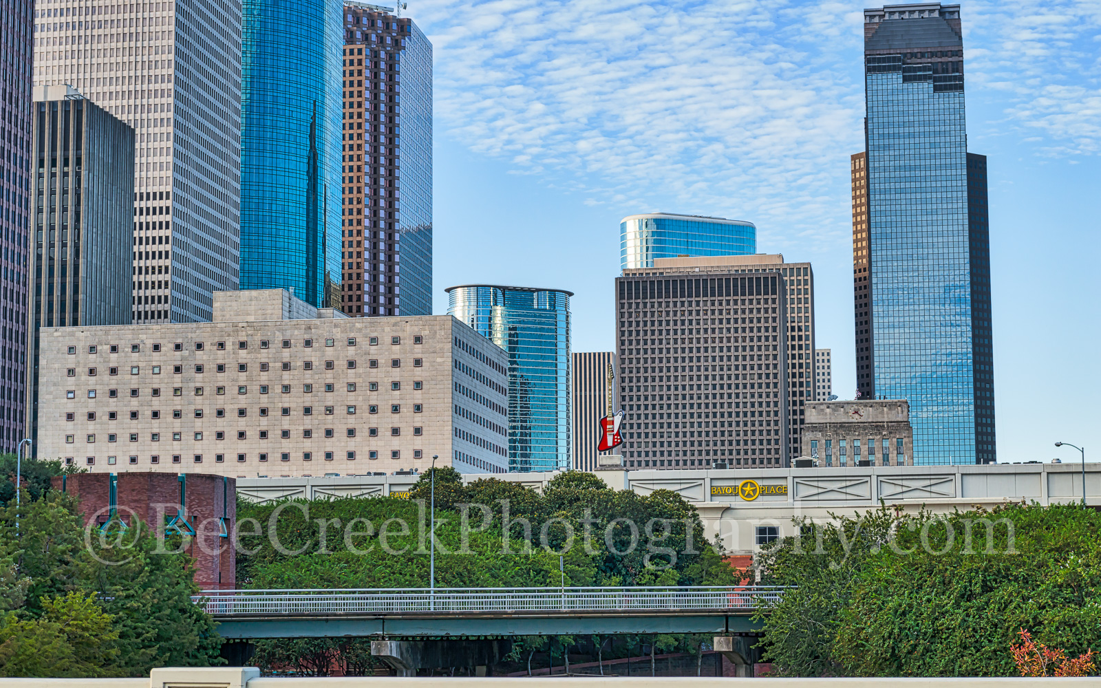 Houston, hard rock cafe, guitar, skyscrapers, city, cityscape, downtown, urban, red, Heritage Plaza, Wortham Theater, city hall, Theater district, buffalo bayou, , photo