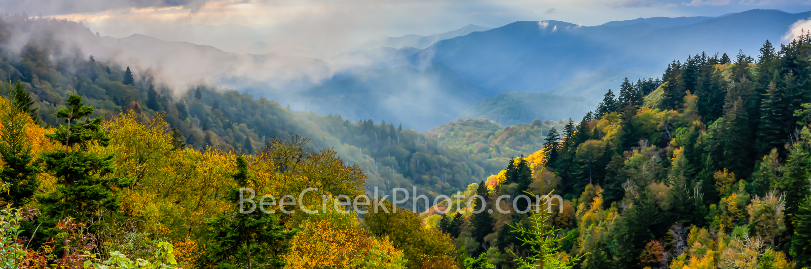 Heavenly Rays over Smokies - Smoky Mountains showing it fall foliage with this heavy clouds as the sun ray shine through the...