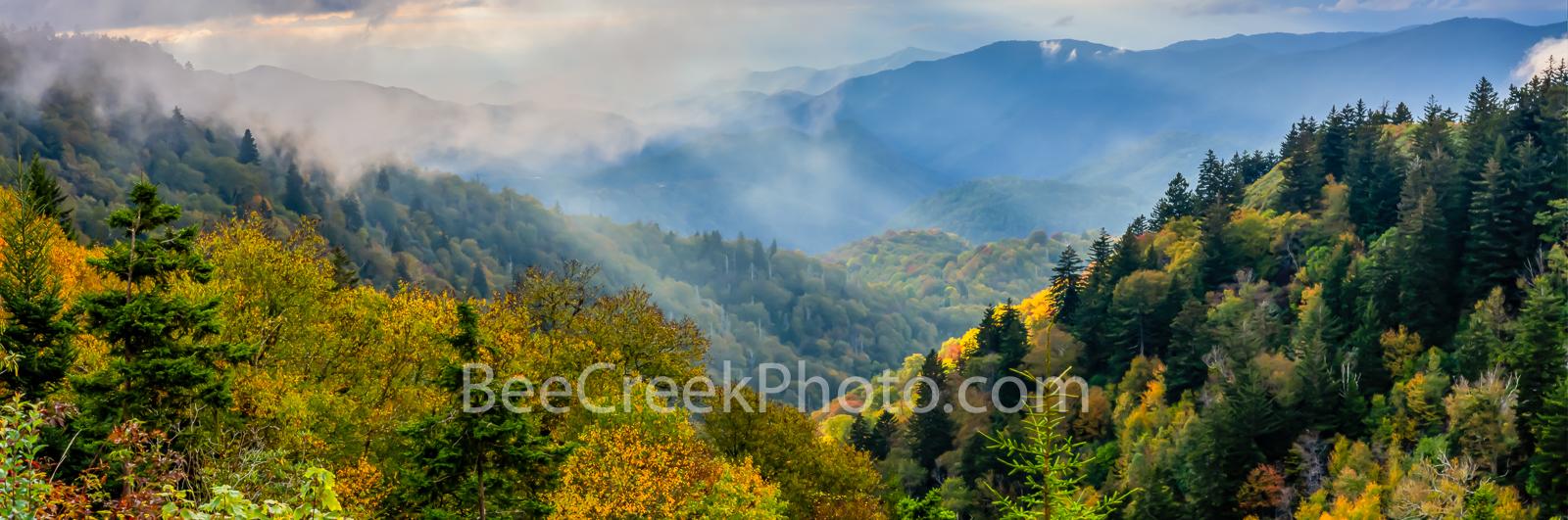 Smoky mountains, rays, fall foliage, autumn, clouds, sun rays, shine, forest, fog, blue ridge mountains, hills valleys, North Carolina, NC, Tenessee, TN, Applachian,Applachian mountains, blue ridge, m, photo