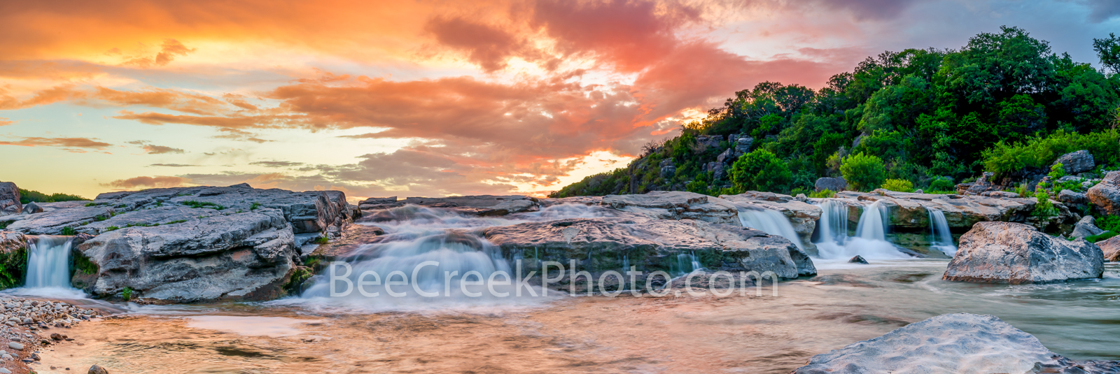 Hill Country Sunset over Waterfalls Pano  -  I went back to the pedernales falls park for a second time as the water has continued...
