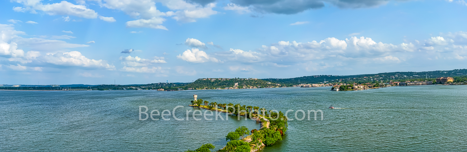 Horseshoe Bay Lighthouse View Pano - Horseshoe Bay Lighthouse View in Marble Falls on this peninsula on Lake LBJ in the hill...