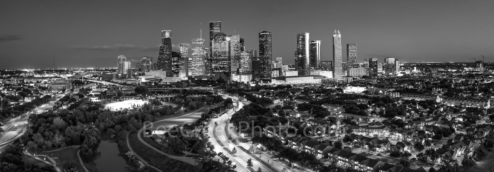 Houston, Skyline, Aerial, pano, panorama, black and white, bw, buffalo bayou, Eleanor Tinsley Park, Memorial Park, Allen Parkway, downtown, hike and bike, Jamail Skate Park, cityscape, southern US,, photo