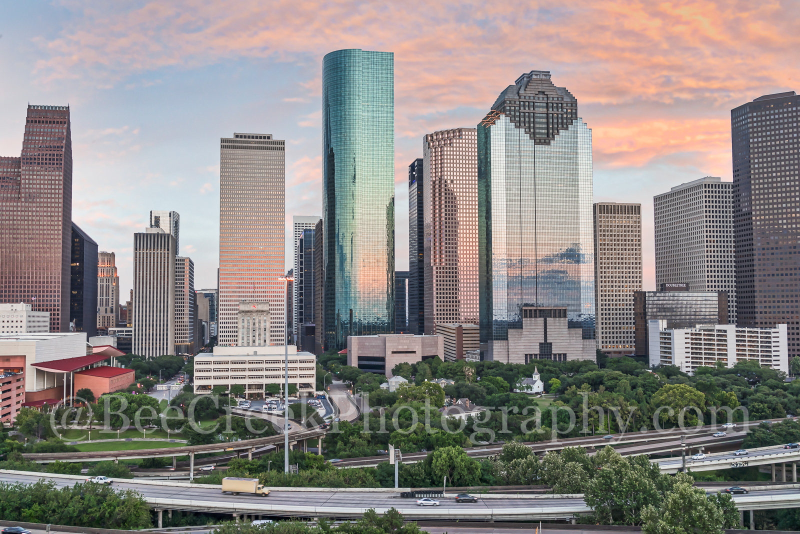 Houston, sunset, skyline, cityscape, clouds, city, high rise, skyscrapers, aerial, camera, image, downtown, art district, drone, , photo