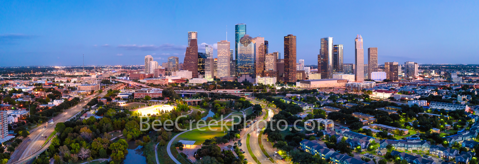 Houston, Skyline, Aerial, twilight,  dusk, pano, panorama, buffalo bayou, Eleanor Tinsley Park, Memorial Park, Allen Parkway, downtown, hike and bike, Jamail Skate Park, cityscape, southern US,, photo