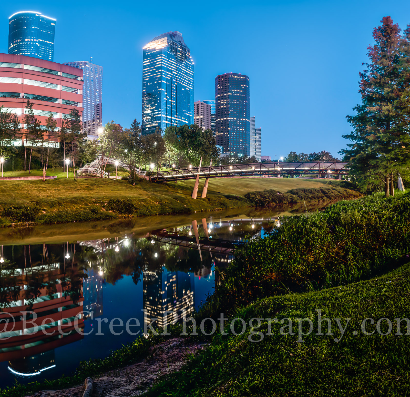Houston, bagby to sabine, promenade, bridge, downtown, skyline, twilight, blue hour, dusk, pedestrian bridges, panorama, pano, america, cityscapes, buffalo bayou, water, reflections, stock bridge phot, photo
