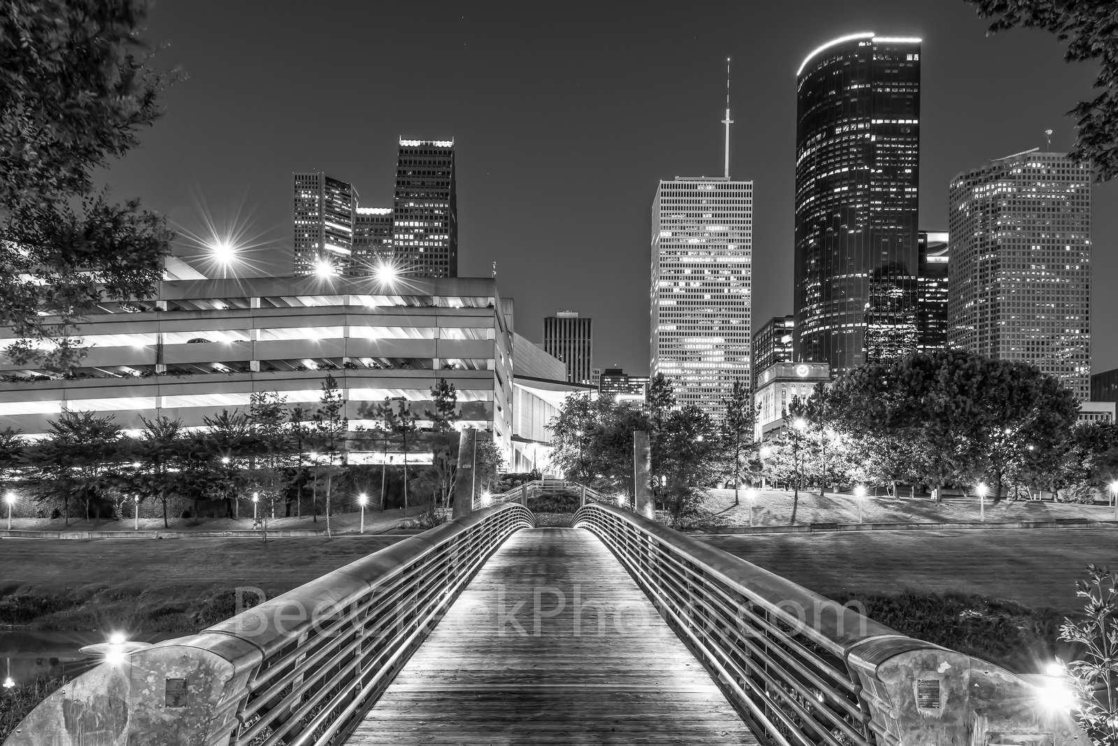 Houston Bridge over Bayou BW - Took this black and white on the bridge of the Sabine to Bagby pedestrian walkway as it crosses...