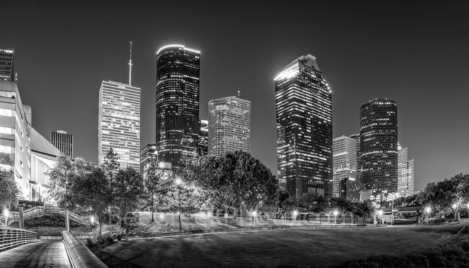 Houston, bagby to sabine, promenade, bridge, downtown, skyline, BW, black and white, dusk, pedestrian bridges, america, cityscapes, buffalo bayou, water, reflections, stock bridge photos, stock bridge, photo