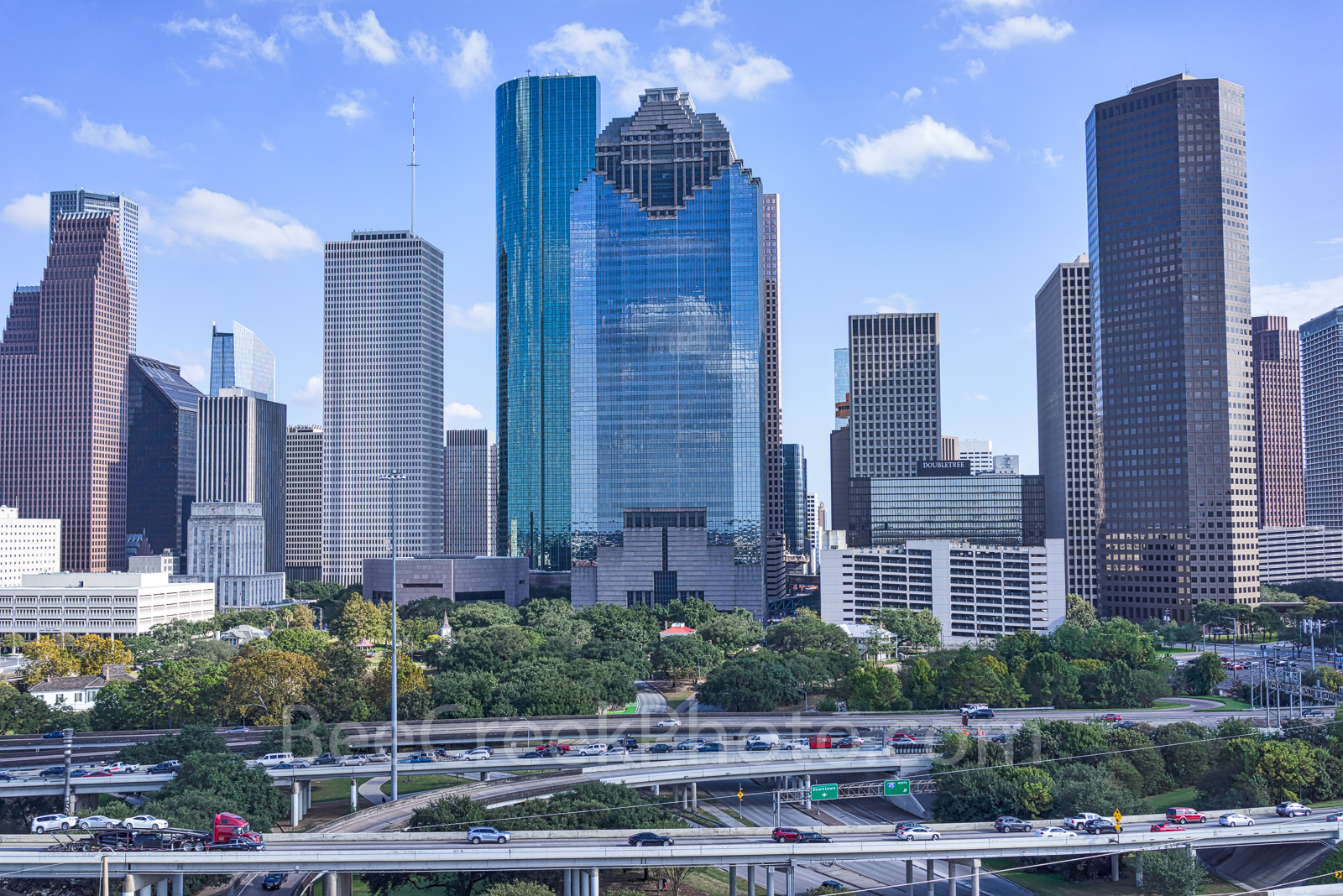 Houston, skyline, Houston cityscape, day, blue sky, daytime, aerial, cityscape, clouds, city, downtown, skyscrapers, buildings, high rise, IH45, museum district, art, culture, music, population, drone, photo