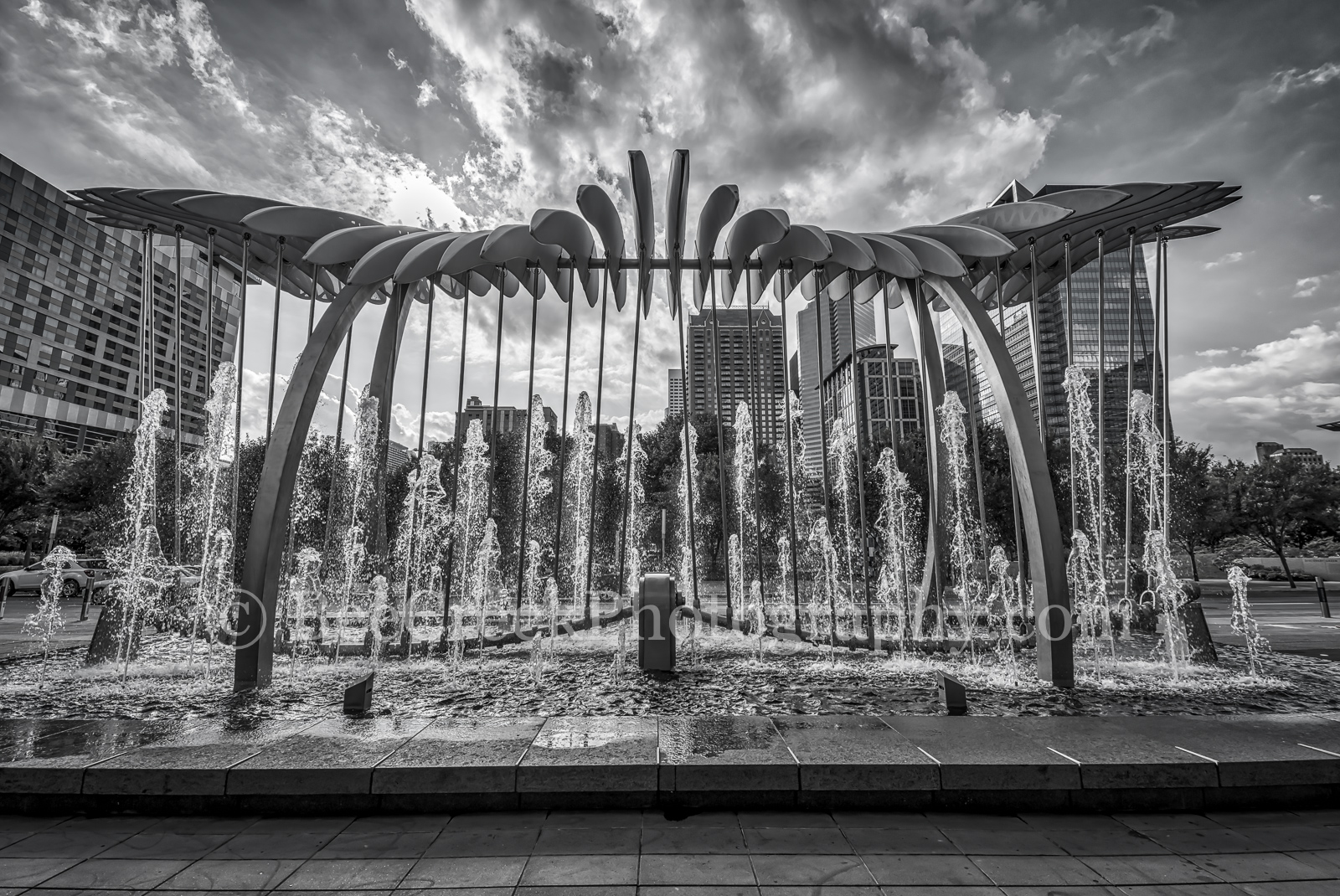 Houston, black and white, bw, cityscape, Wings Over Water, downtown, George Brown Convention Center, Discovery Green Park, water scupture, Avenida, kinetic, wings, birds, high rise, buildings, art,