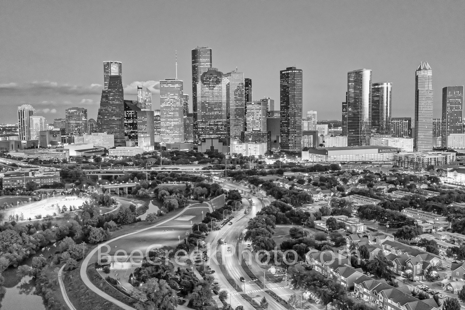 Houston Dusk B W - This is an aerial capture of the Houston skyline at dusk. Houston has many skyscrapers that are some...