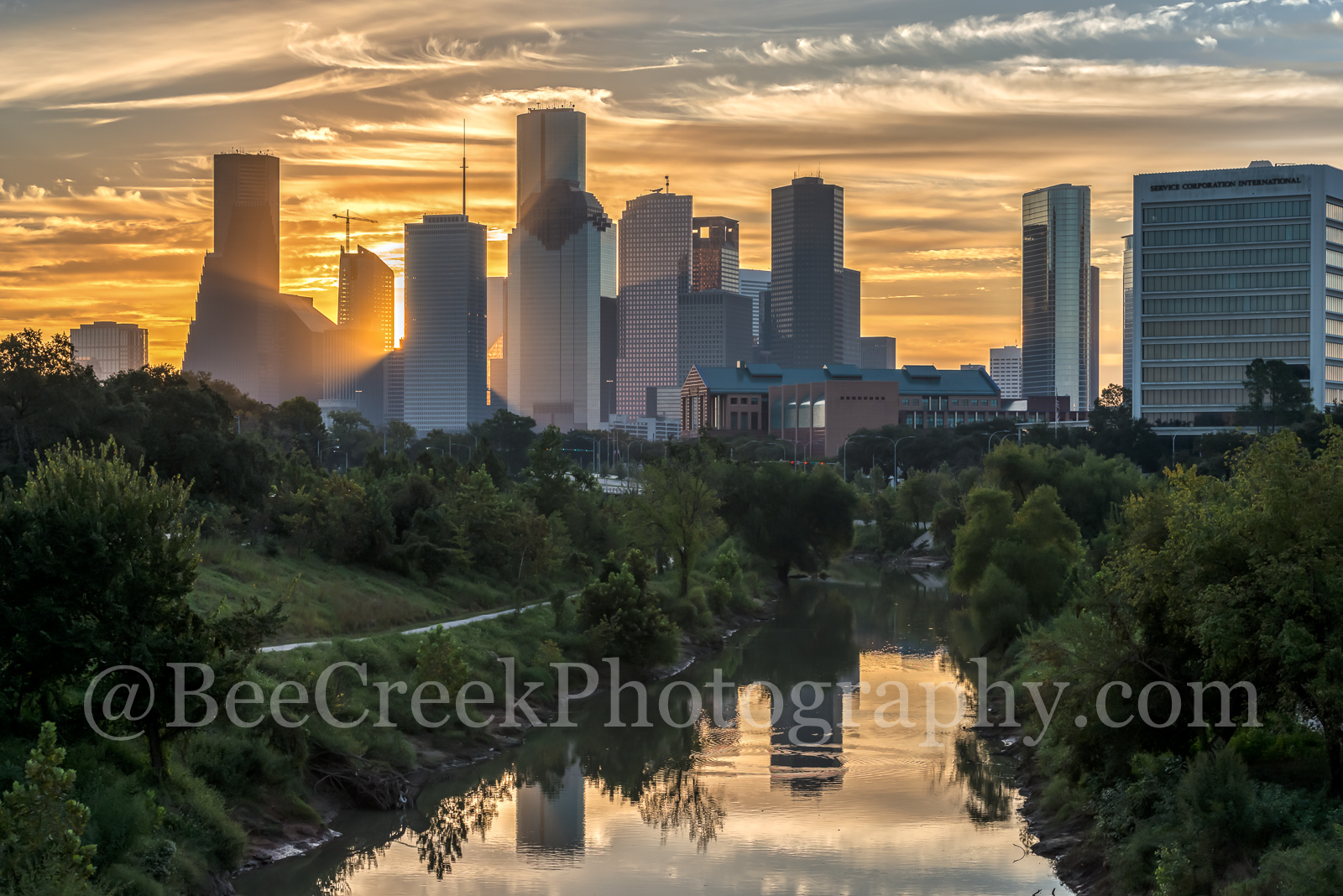 Houston, skyline, sunrise, clouds, golden, glow, buffalo bayou, water, river, sun, syscrapers, downtown, city,