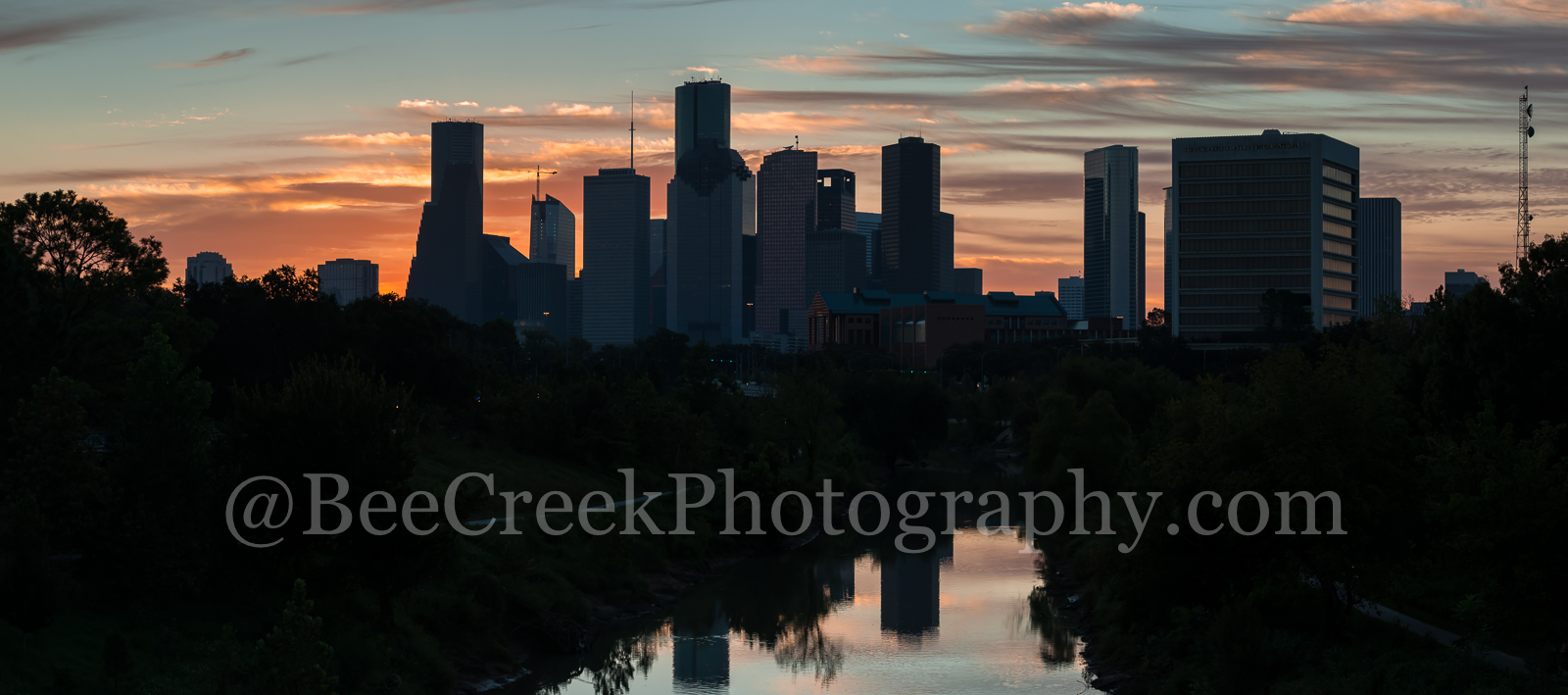 Houston, skyline, skylines, pano, panorama, cityscape, cityscapes, buildings, high rise, bayou, buffalo bayou, water, reflections, sunrise, colors, pinks, oranges, skies,, photo