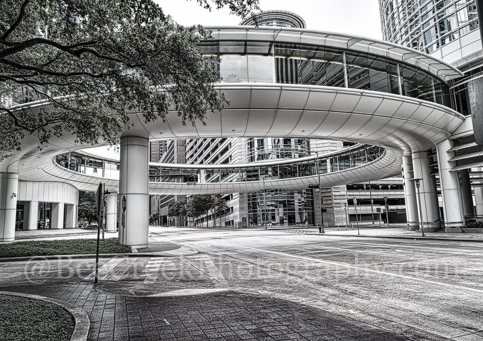 Houston, Chevron Complex, building, skybridge, skywalk, street scene, downtown, black and white, high rise, smith street, pedestrian walkway, , photo