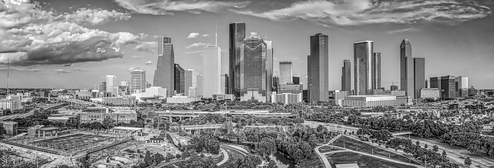 Houston skyline, Houston Skyline Aerial BW Pano, black and white, bw, skyline, cityscape, pano, panorama, cityscapes, city, park, skylines, downtown, skyscrapers, bayou, green, Eleanor tinsley Park, J, photo