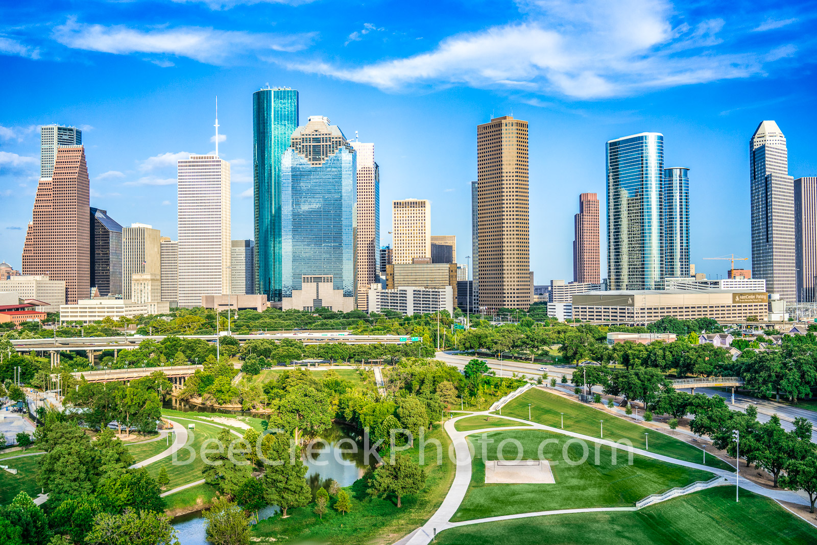 Houston Skyline Aerial View - This is another aerial view of a urban landscape of downtown Houston skyline from a city park with...