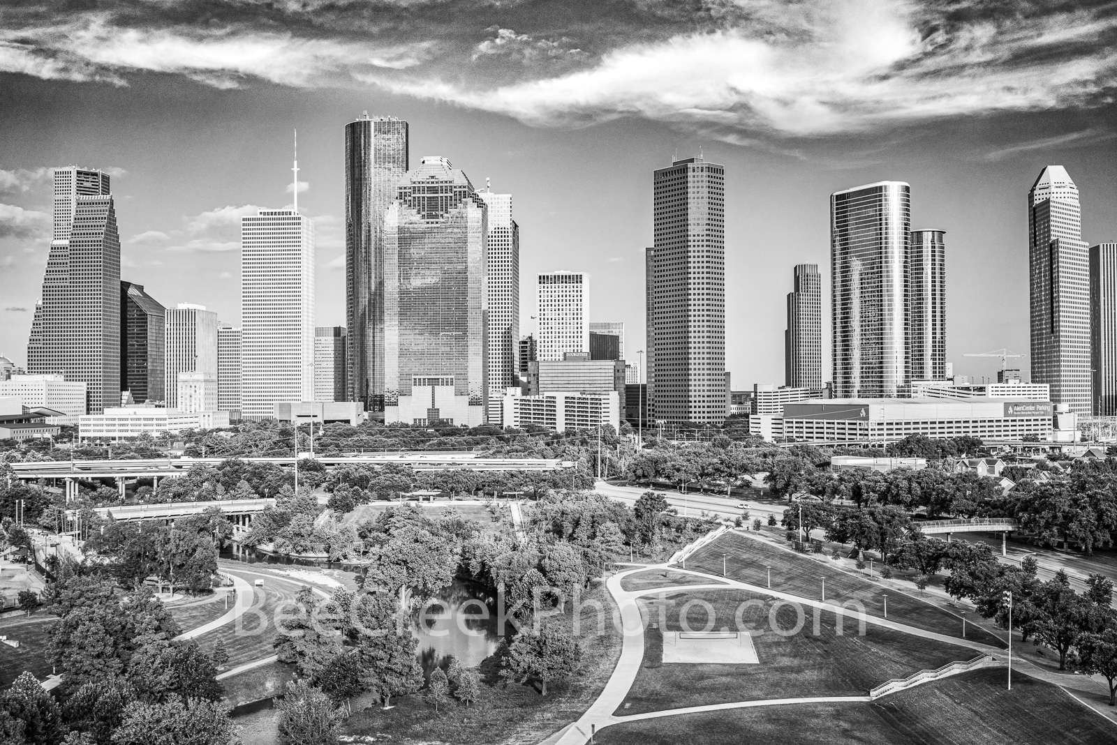 Houston Skyline Aerial View BW  - This is another aerial view of a urban landscape of downtown Houston skyline from a city park...
