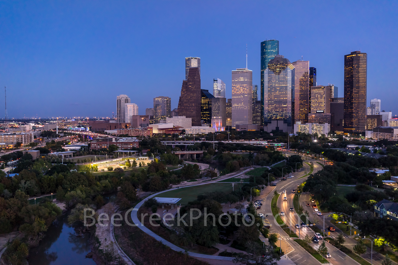 Houston skyline, Houston cityscape, aerial, twilight, blue hour, Allen Parkway, Buffalo Bayou, downtown, city, threater district, museums, theater art, opera, music events, tallest buildings, southern, photo