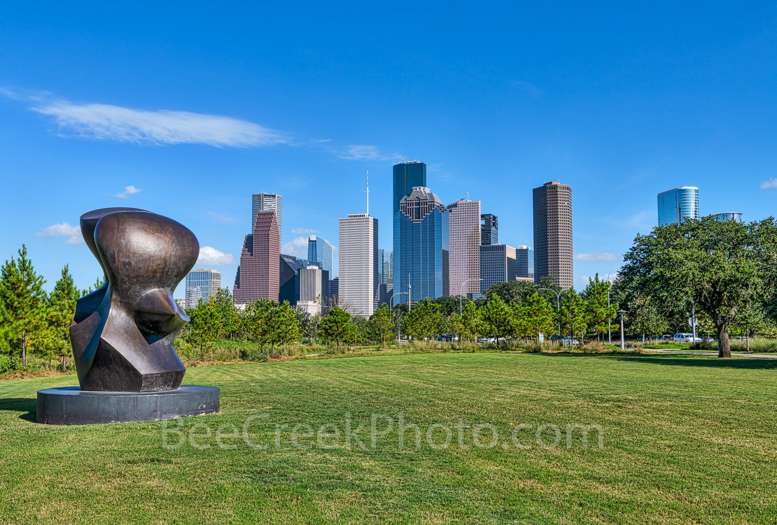 Houston Skyline, Art, Sculpture Henry Moore, Sculpture, Eleanor Tinsley Park, downtown,, photo