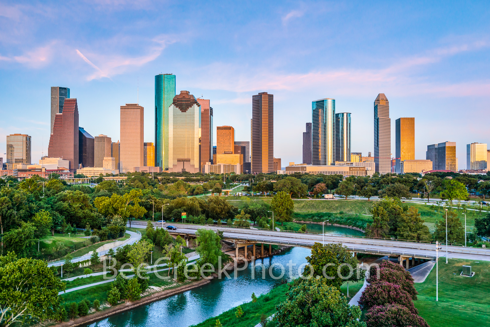 Houston Skyline at Dusk - This is an aerial view of the Houston skyline from a city park that runs along the Buffalo Bayou near...