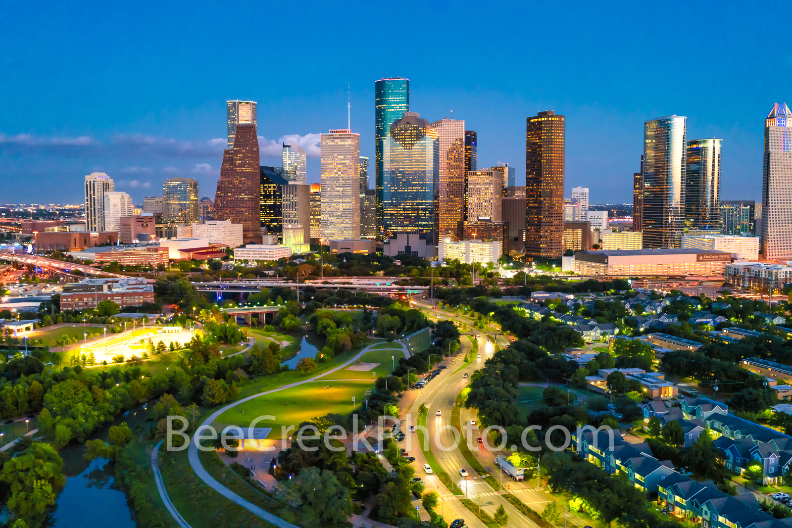 Houston Skyline at Twilight - Right after the sun goes down and the lights come on the buildings in downtown Houston light up...