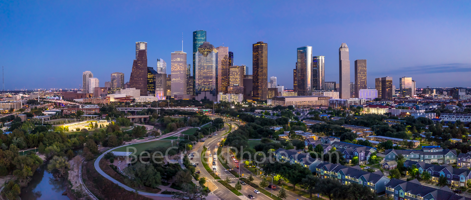 Houston skyline, Houston, skyline, twilight, aerial, panorama, pano, houston cityscape, city, downtown, Hurricane Harvey, skyscrapers, Allen Parkway, Jamail skate park,  houston skyline stock, , photo