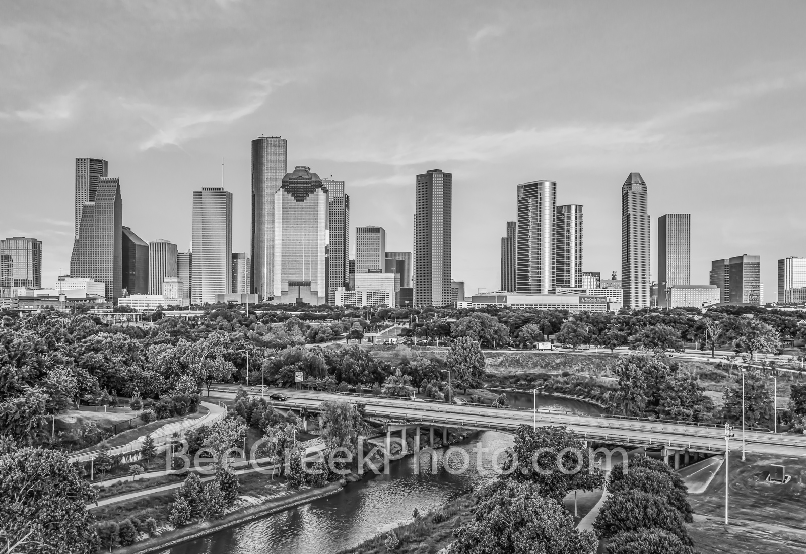 Houston Skyiine B W - This is an aerial shot of the Buffalo Bayou and city park from a different area with the Houston Skyline...