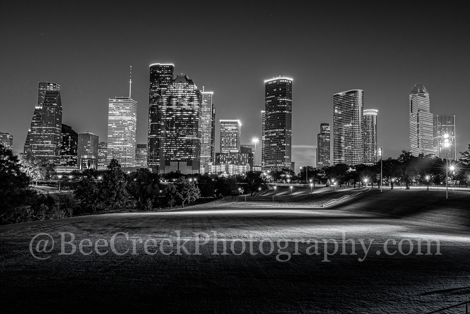 Houston, black and white, buffalo bayou, cities, city, cityscape, cityscapes, downtown, high rise, night, park, skyline, skylines, skyscrapers, street scene, tall buildings, photo