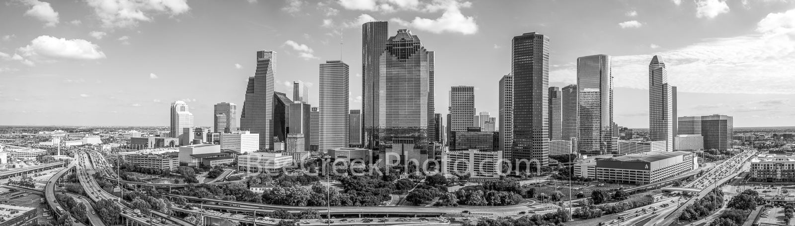 Houston, skyline, Houston skyline, black and white, BW, daytime, aerial, panorama, pano, cityscape, clouds, city, downtown, skyscrapers, buildings, high rise, IH45, museum district, art, culture, musi, photo