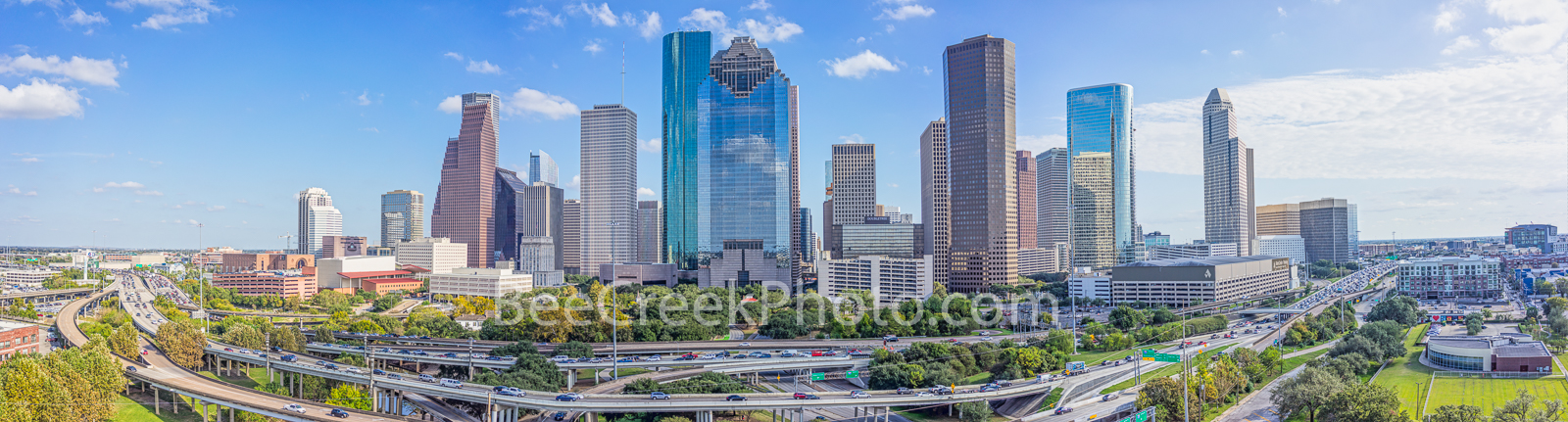 Houston, skyline, Houston skyline, day, blue sky, daytime, aerial, panorama, pano,  cityscape, clouds,  city, downtown, skyscrapers, buildings, high rise, IH45, museum district, art, Houston stock, , photo