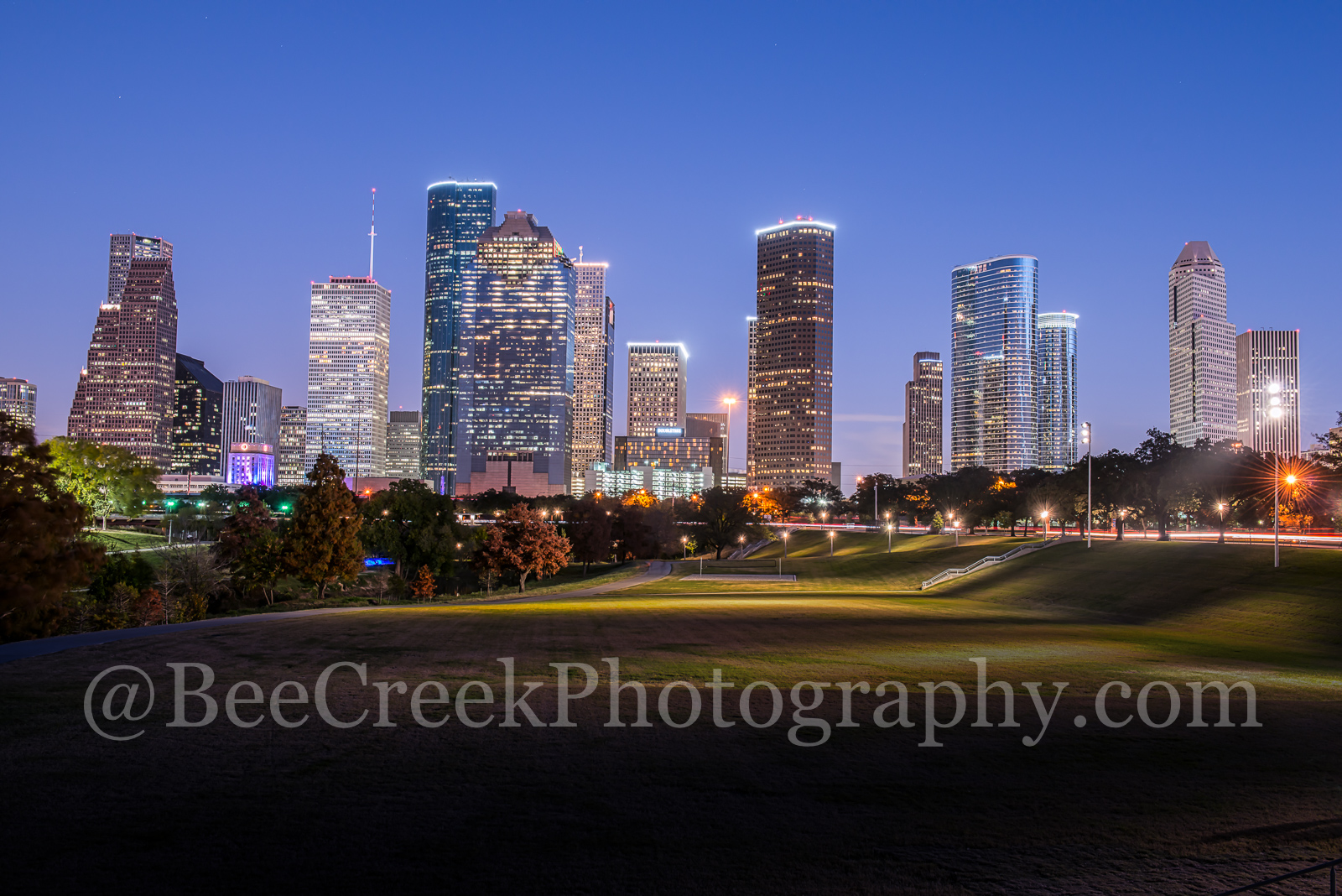 Houston, blue hour, buildings, city, cityscape, cityscapes, downtown, dusk, evening, high rise, lights, night, park, skyline, skylines, skyscrapers, tall, views, photo