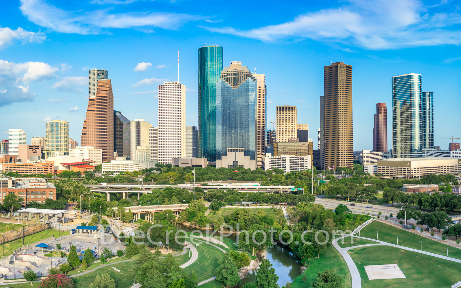 Houston Skyline from Above -This is a aerial view of the Houston Skyline with the Buffalo Bayou, Elenor Tinsley Park and the...