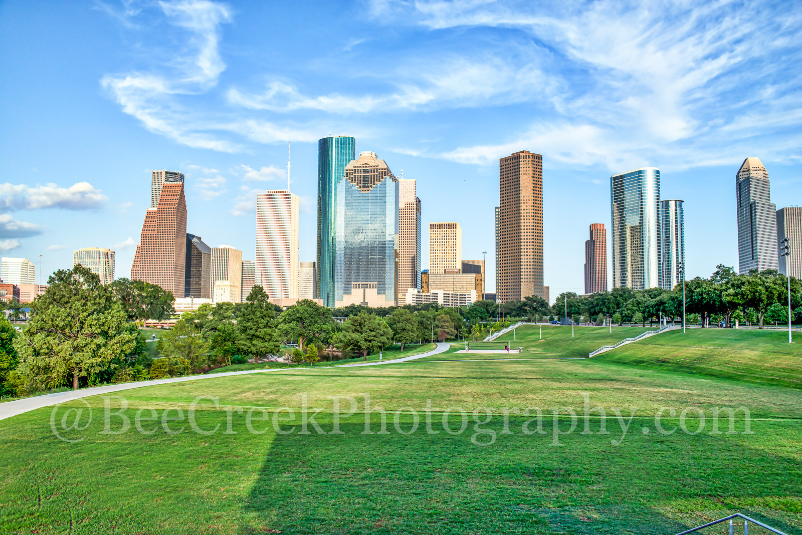 Houston skyline, Houston, skyline, cities, city, citycapes, cityscape, downtown, exercise, landscape, modern, park,  urban, views, walking, Buffalo Bayou, Eleanor Tinsley Park, Allen Parkway, Memorial