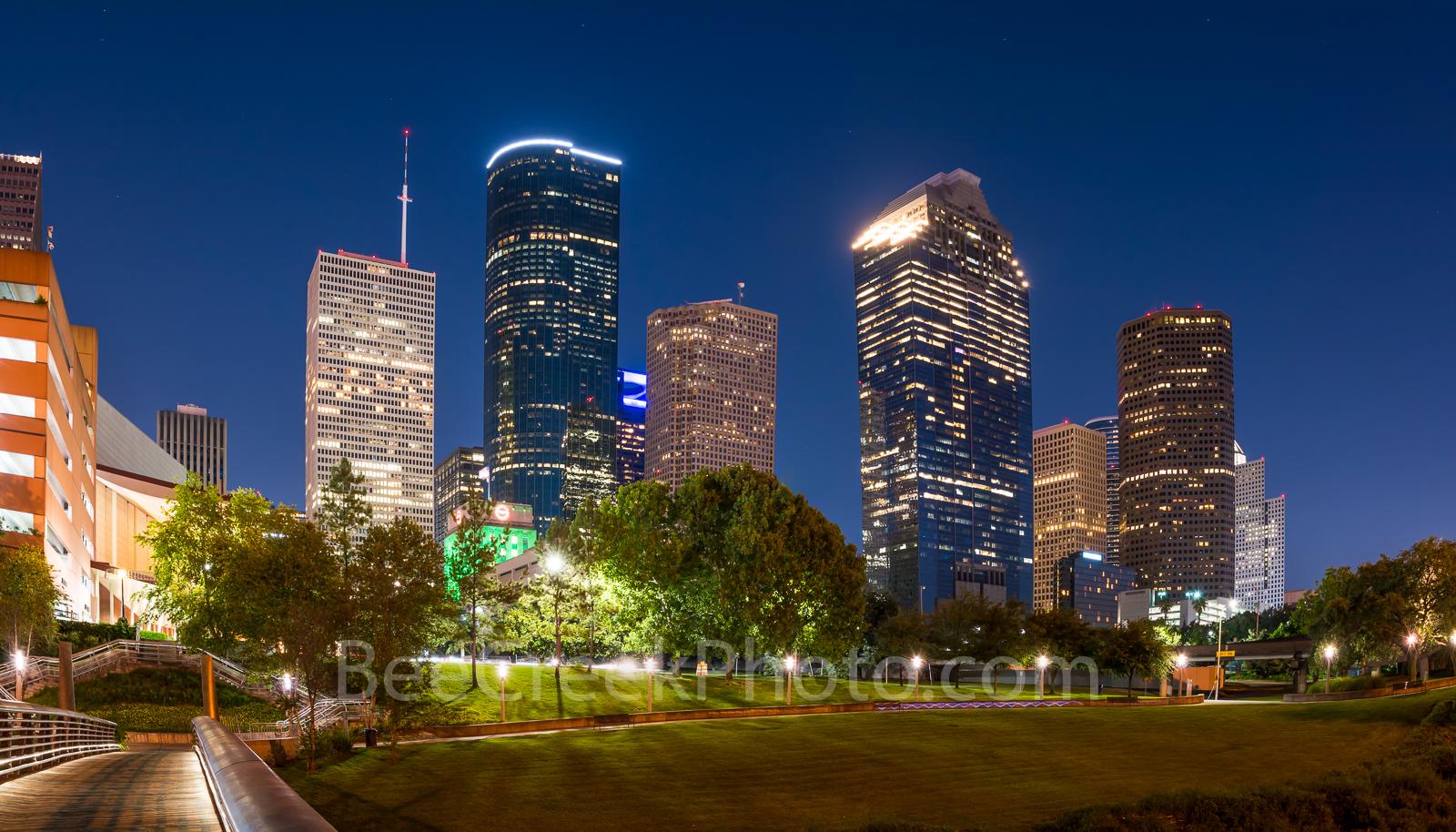 Houston, bagby to sabine, promenade, bridge, downtown, skyline, twilight, blue hour, dusk, pedestrian bridges, america, cityscapes, buffalo bayou, water, reflections, stock bridge photos, stock bridge, photo