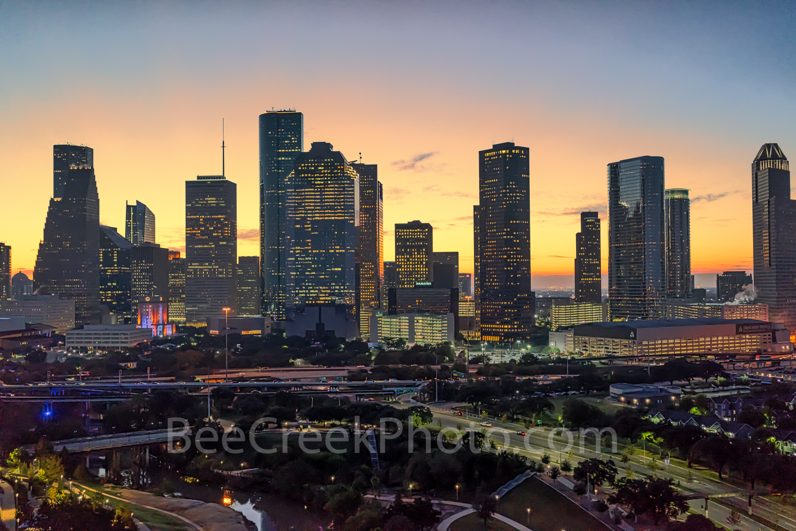 Houston cityscape, Sunrise, glow, Buffalo Bayou, skylines, Houston cityscape, cityscapes, aerial, downtown, reflections, pinks, oranges, sky, morning, city views, city, cities, trees, high rise, skysc, photo