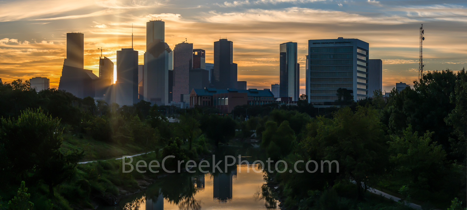 Houston skyline, sunrise, Buffalo Bayou,  golden, glow, pano, panorama, cityscape, city, downtown, sun rays, high rise buildings, parks, morning,  gulf of mexico,, photo